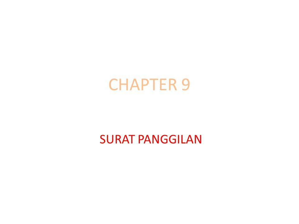 CHAPTER 9 SURAT PANGGILAN