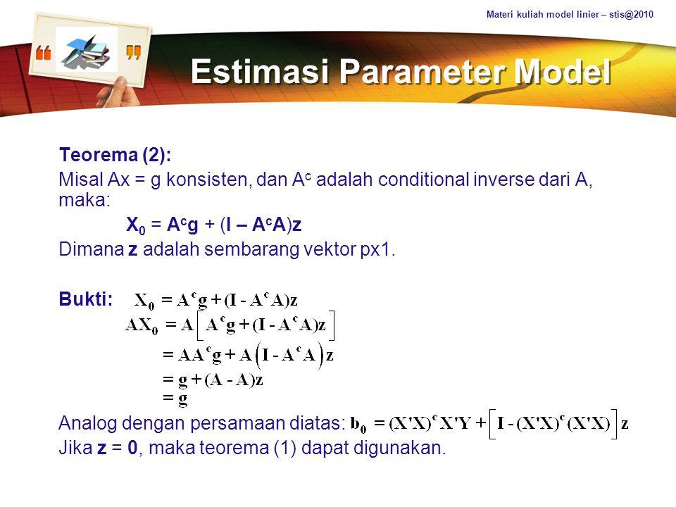 Estimasi Parameter Model