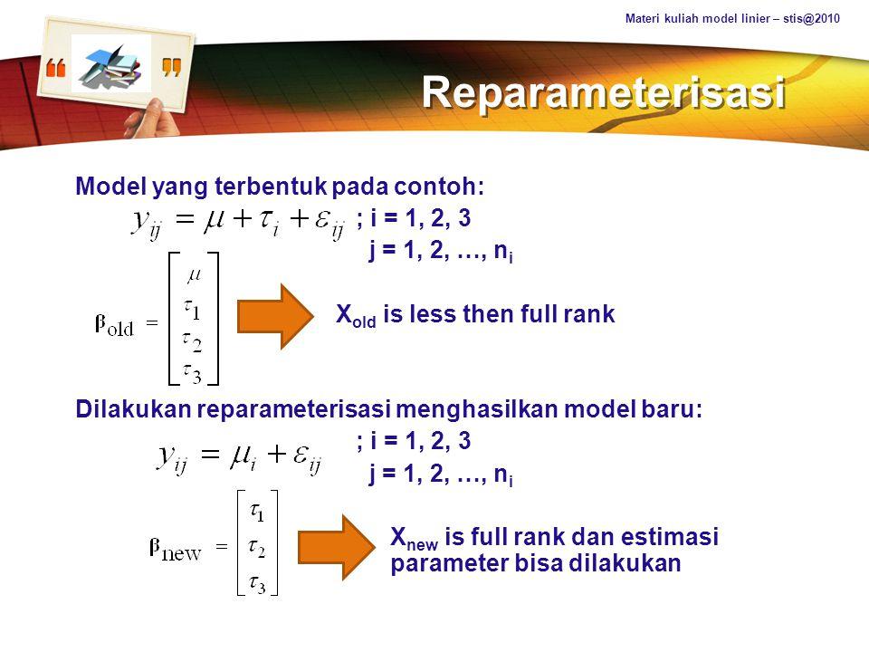 Reparameterisasi Model yang terbentuk pada contoh: ; i = 1, 2, 3