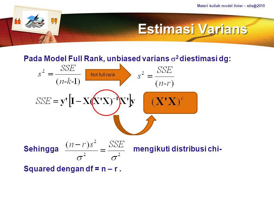 Materi kuliah model linier – stis@2010