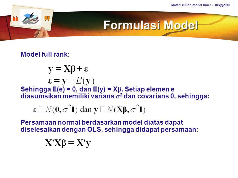 Formulasi Model Model full rank: