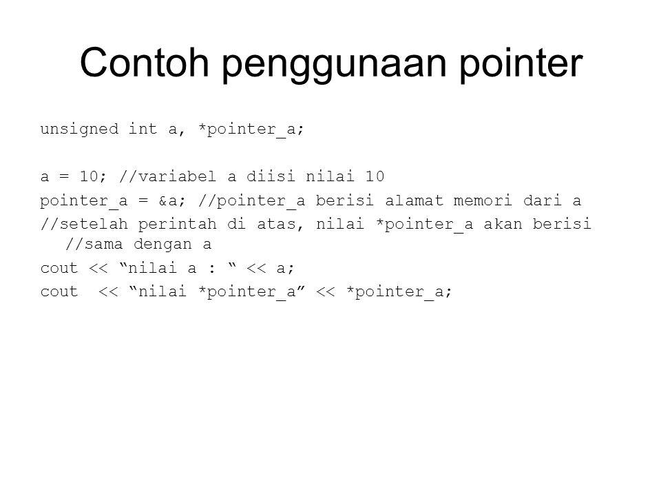 Contoh penggunaan pointer