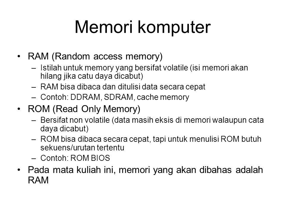 Memori komputer RAM (Random access memory) ROM (Read Only Memory)