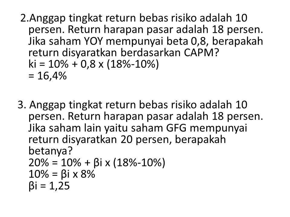 2. Anggap tingkat return bebas risiko adalah 10 persen