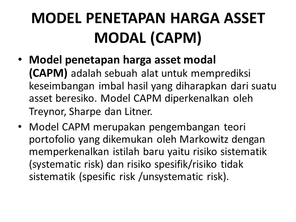 MODEL PENETAPAN HARGA ASSET MODAL (CAPM)