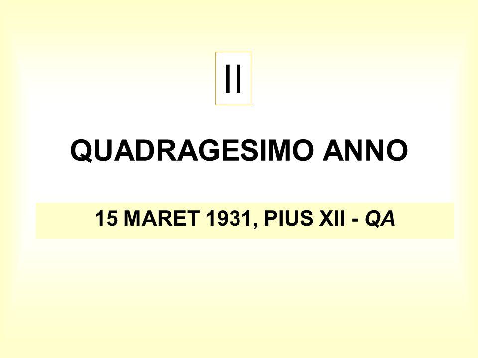 II QUADRAGESIMO ANNO 15 MARET 1931, PIUS XII - QA