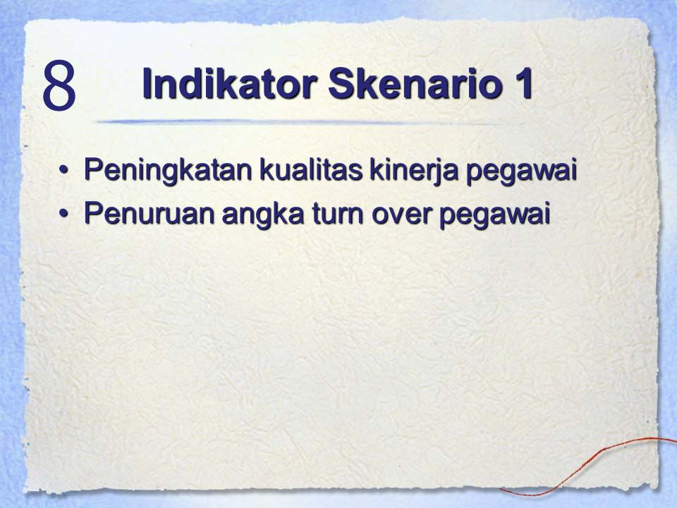 8 Indikator Skenario 1 Peningkatan kualitas kinerja pegawai