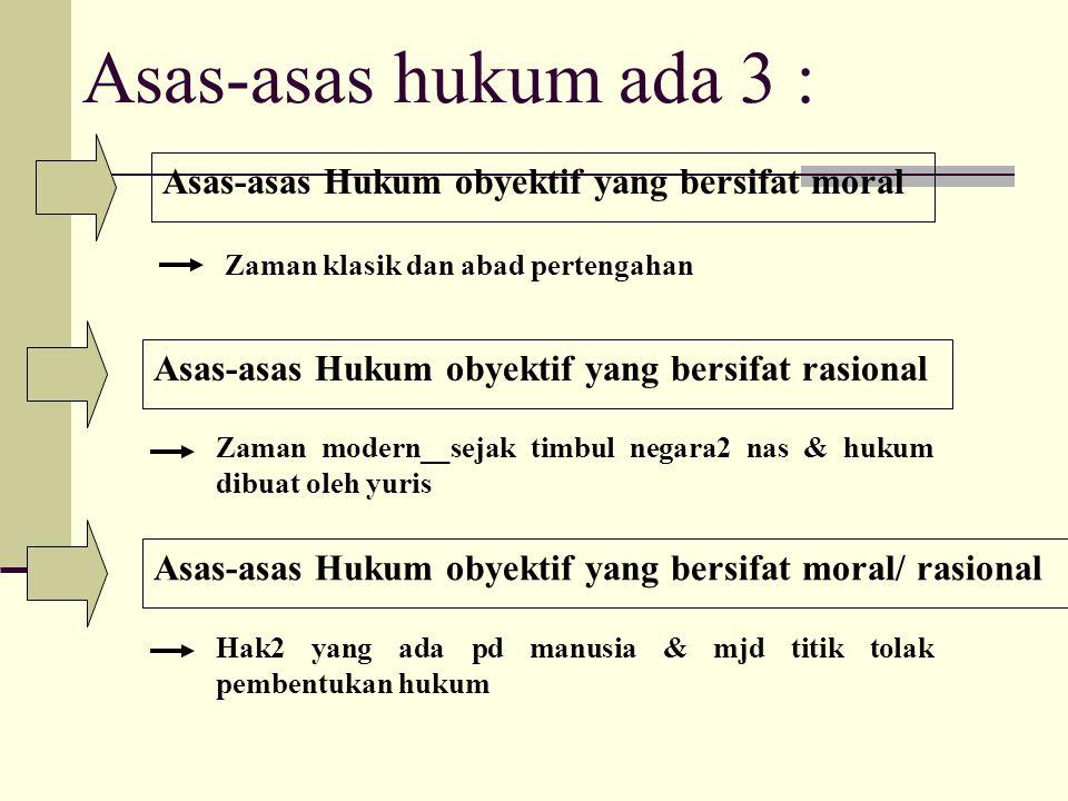 Asas-asas hukum ada 3 : Asas-asas Hukum obyektif yang bersifat moral