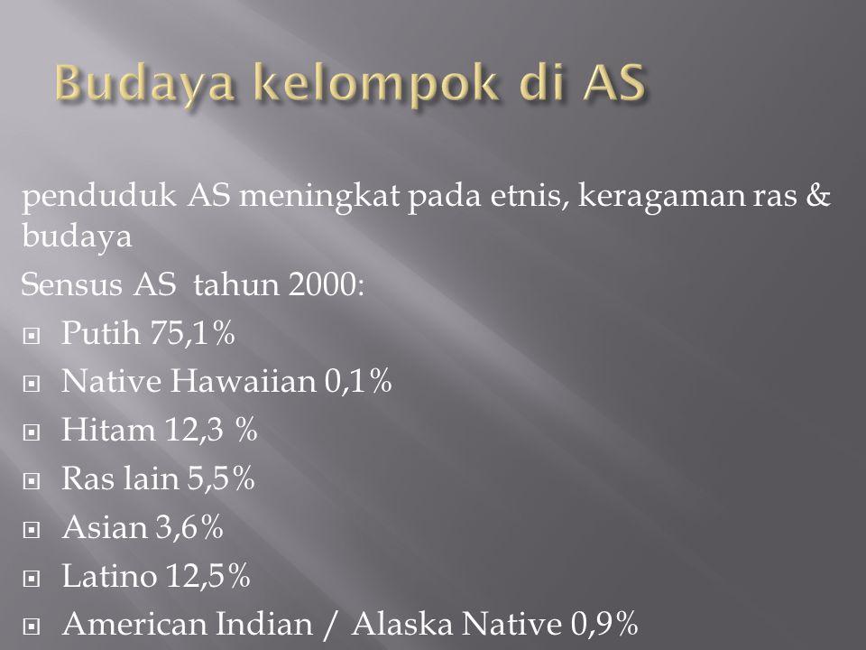 Budaya kelompok di AS penduduk AS meningkat pada etnis, keragaman ras & budaya. Sensus AS tahun 2000: