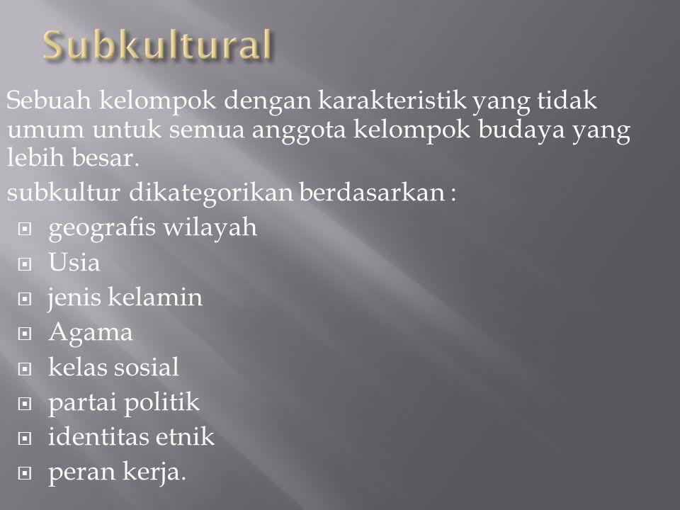 Subkultural Sebuah kelompok dengan karakteristik yang tidak umum untuk semua anggota kelompok budaya yang lebih besar.
