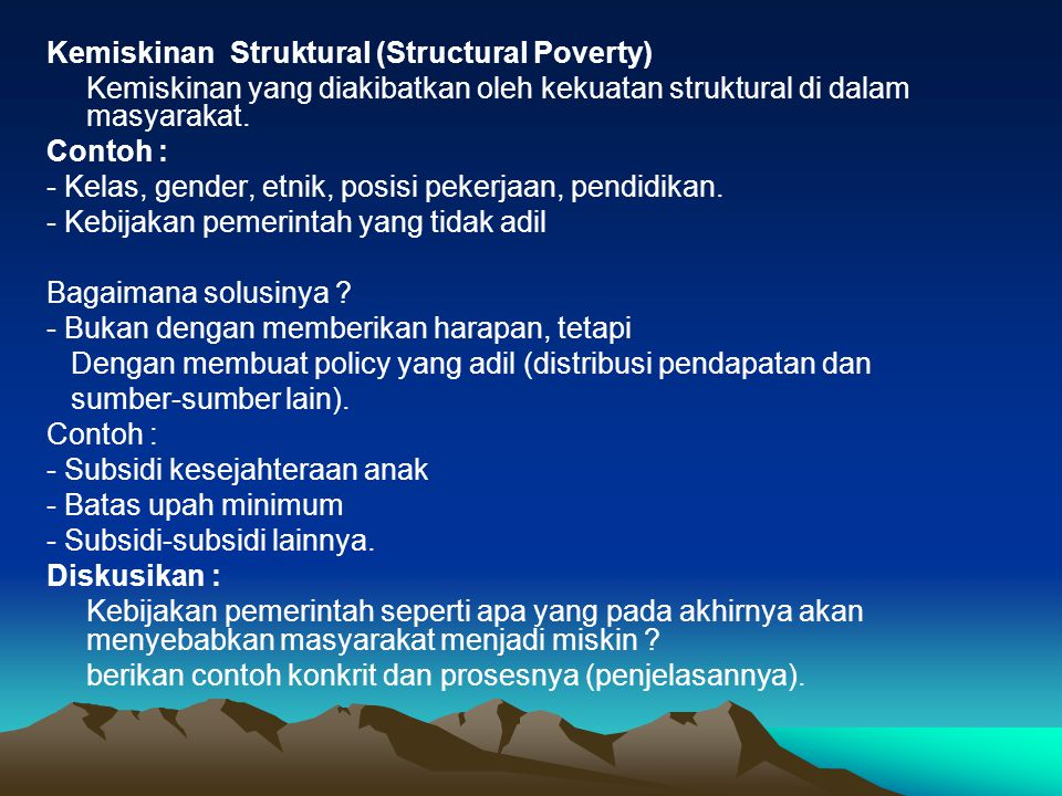 Kemiskinan Struktural (Structural Poverty)
