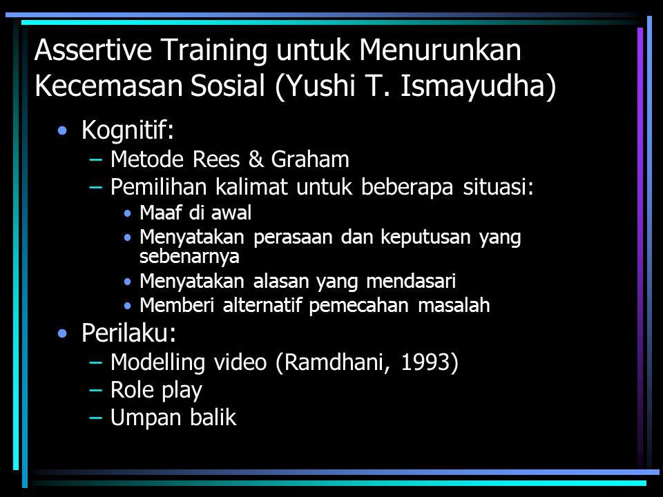 Assertive Training untuk Menurunkan Kecemasan Sosial (Yushi T