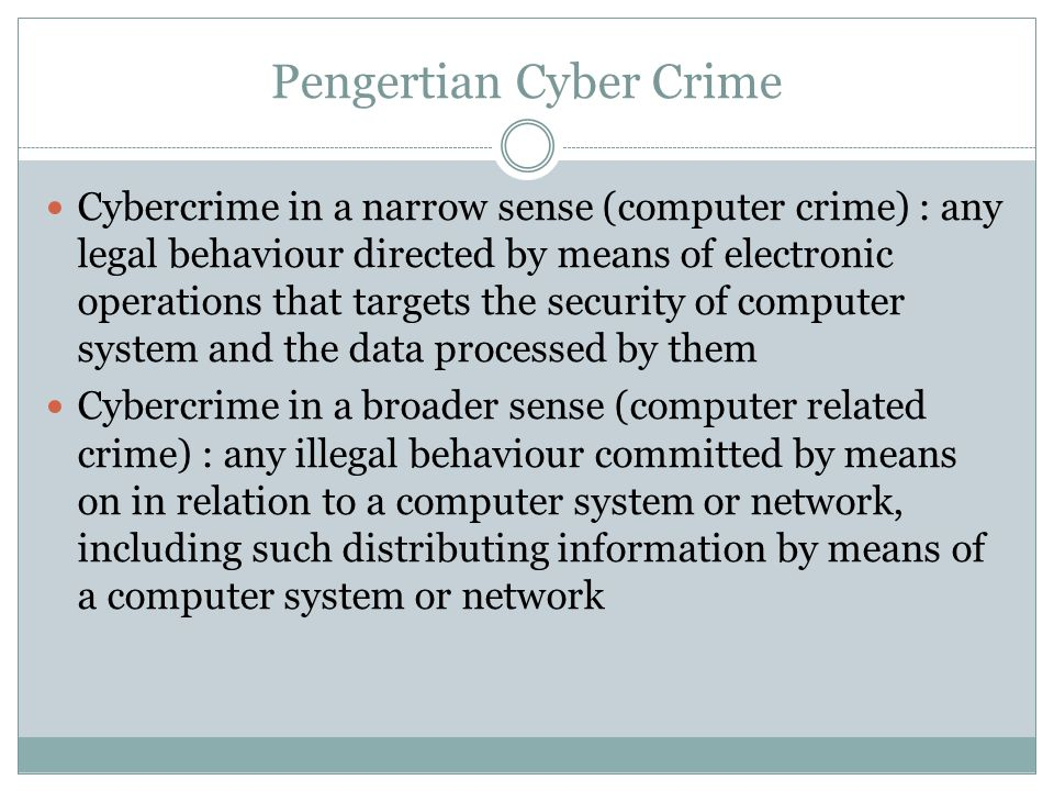 Pengertian Cyber Crime