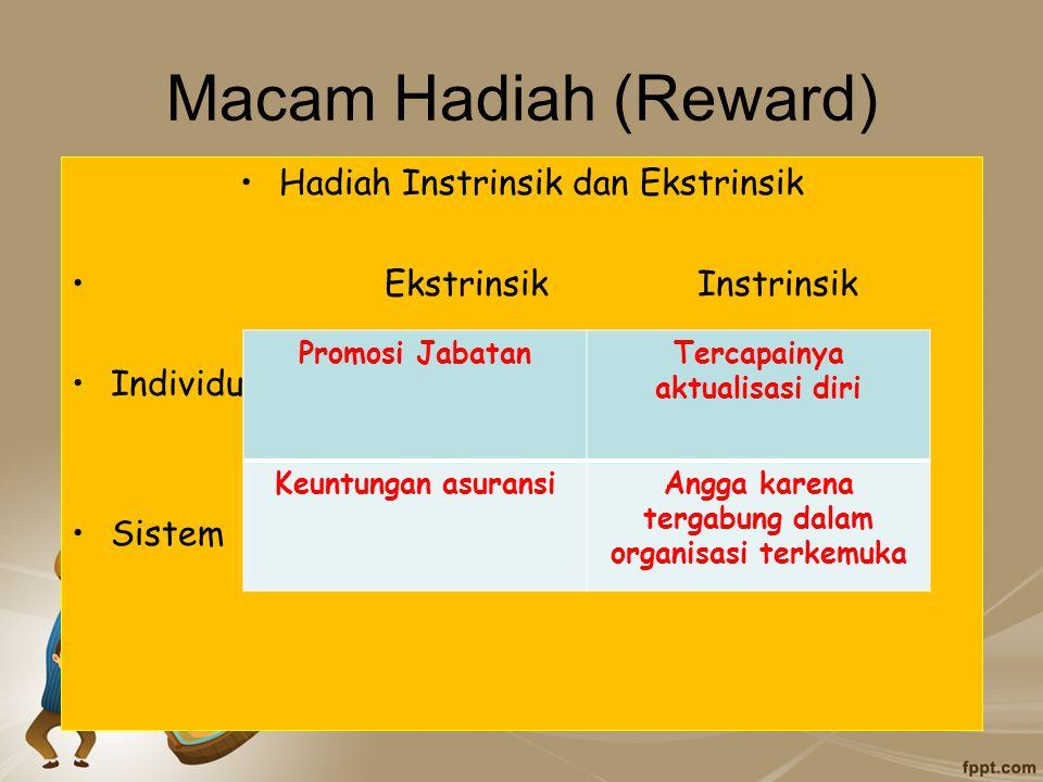 Macam Hadiah (Reward) Hadiah Instrinsik dan Ekstrinsik