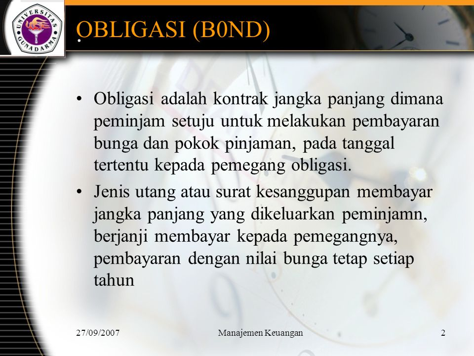 OBLIGASI (B0ND) .
