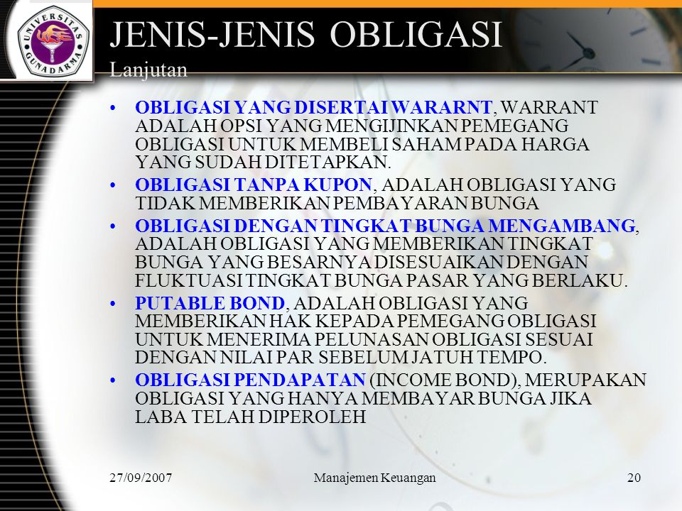 JENIS-JENIS OBLIGASI Lanjutan