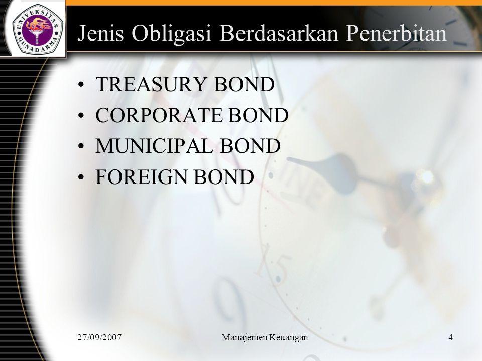 Jenis Obligasi Berdasarkan Penerbitan