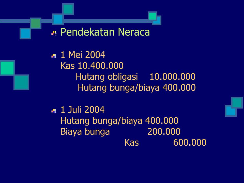 Pendekatan Neraca 1 Mei 2004 Kas 10.400.000 Hutang obligasi 10.000.000