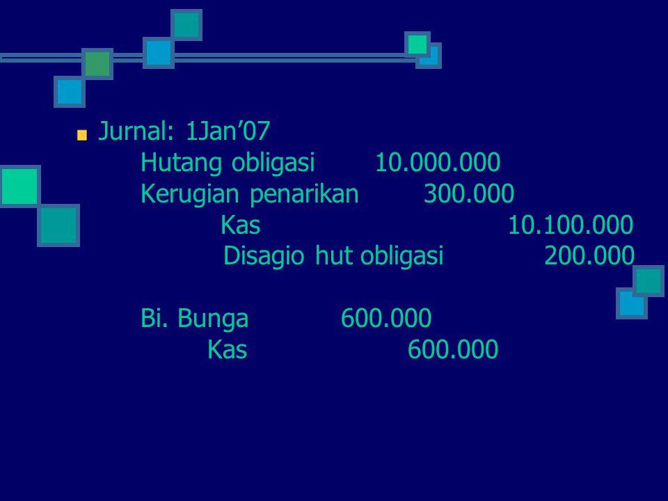 Jurnal: 1Jan'07 Hutang obligasi 10.000.000. Kerugian penarikan 300.000. Kas 10.100.000.