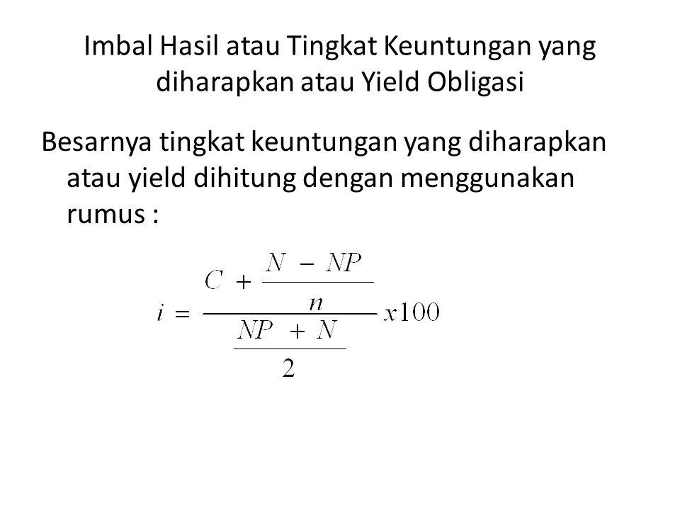 Imbal Hasil atau Tingkat Keuntungan yang diharapkan atau Yield Obligasi