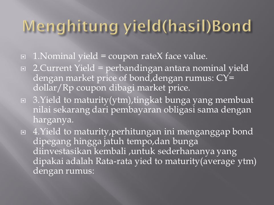 Menghitung yield(hasil)Bond