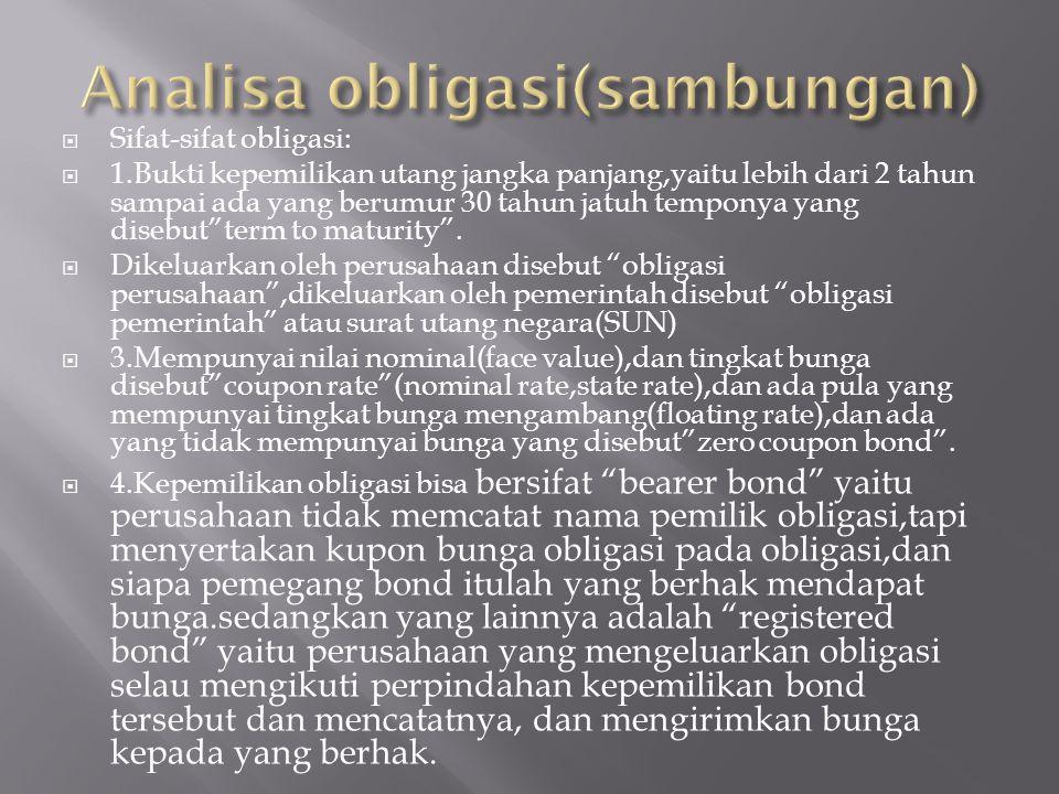 Analisa obligasi(sambungan)