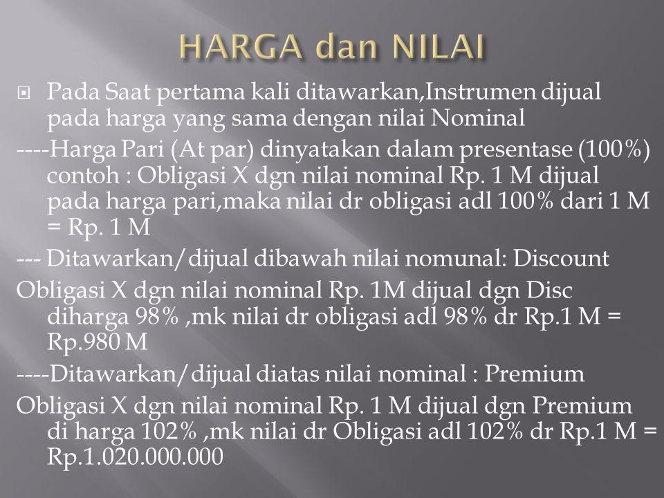 HARGA dan NILAI Pada Saat pertama kali ditawarkan,Instrumen dijual pada harga yang sama dengan nilai Nominal.