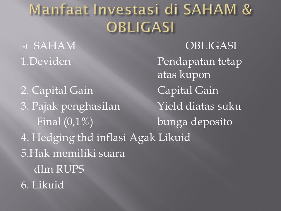 Manfaat Investasi di SAHAM & OBLIGASI