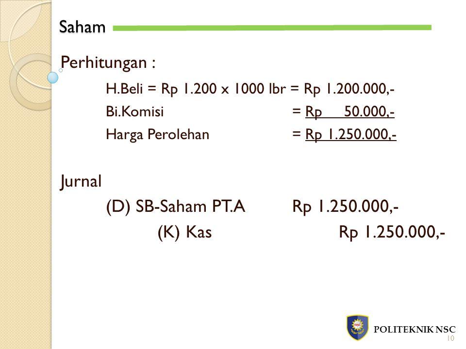 Saham Perhitungan : H.Beli = Rp 1.200 x 1000 lbr = Rp 1.200.000,-