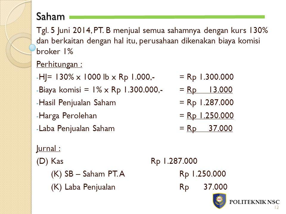 Saham Tgl. 5 Juni 2014, PT. B menjual semua sahamnya dengan kurs 130% dan berkaitan dengan hal itu, perusahaan dikenakan biaya komisi broker 1%
