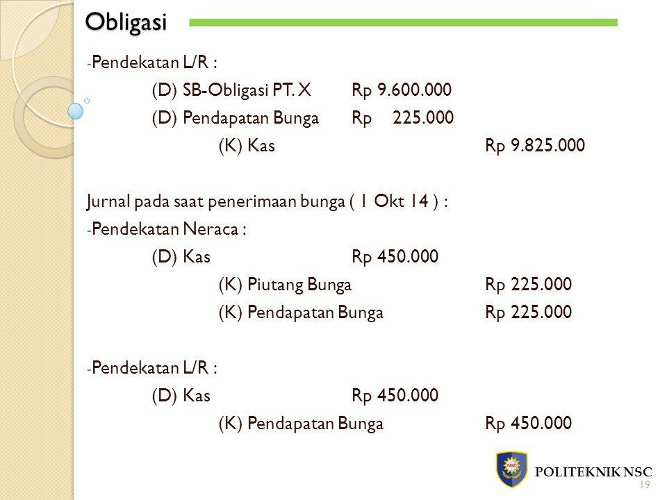 Obligasi Pendekatan L/R : (D) SB-Obligasi PT. X Rp 9.600.000