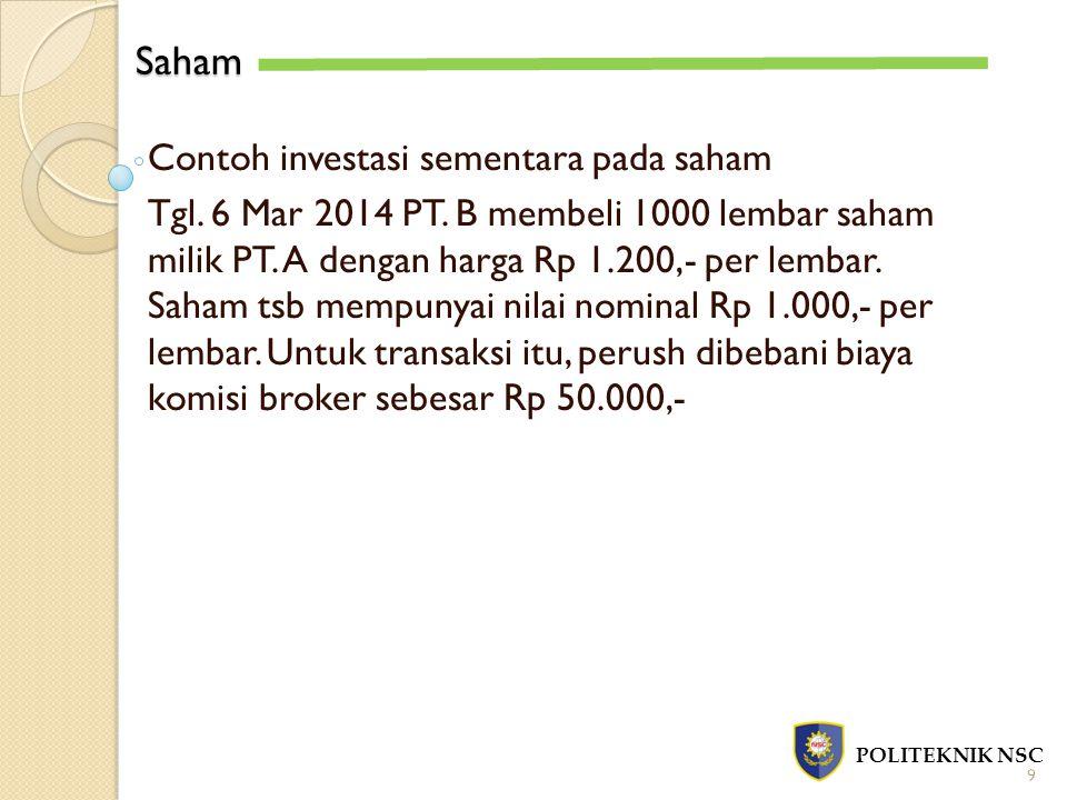 Saham Contoh investasi sementara pada saham