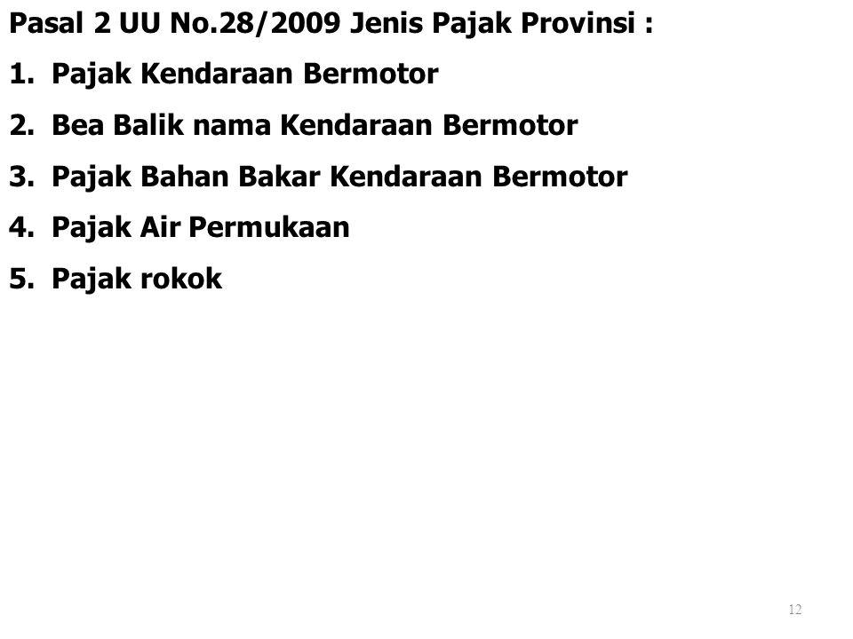 Pasal 2 UU No.28/2009 Jenis Pajak Provinsi :