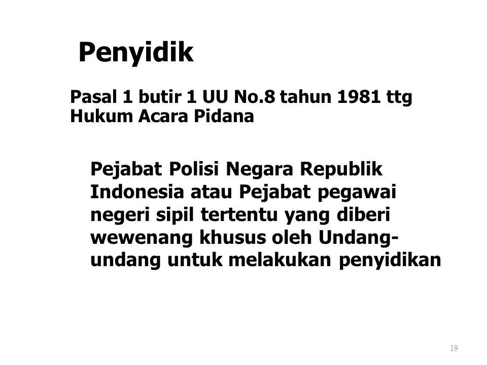 Penyidik Pasal 1 butir 1 UU No.8 tahun 1981 ttg Hukum Acara Pidana.