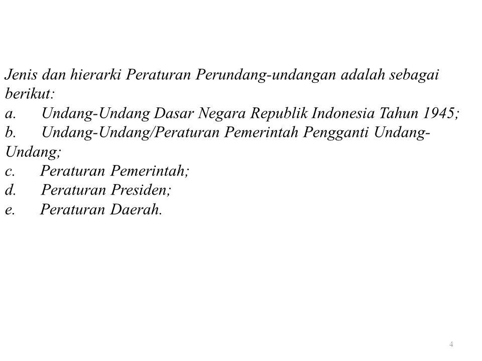 Jenis dan hierarki Peraturan Perundang-undangan adalah sebagai berikut: