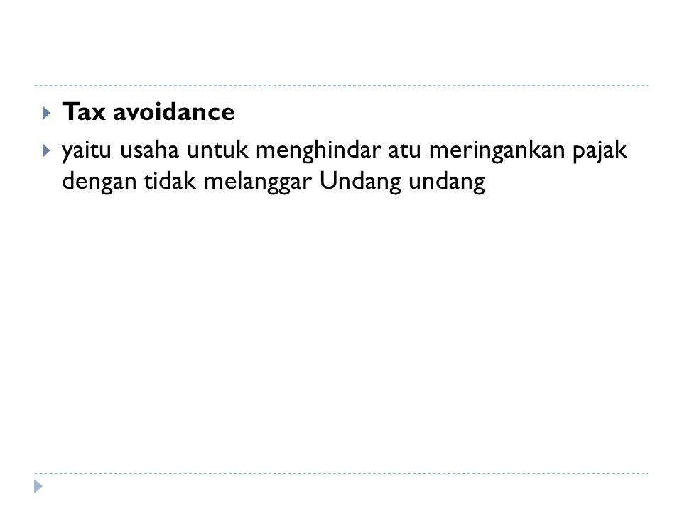 Tax avoidance yaitu usaha untuk menghindar atu meringankan pajak dengan tidak melanggar Undang undang.