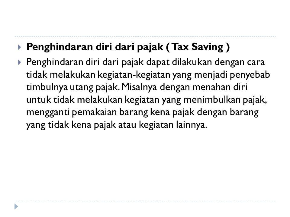 Penghindaran diri dari pajak ( Tax Saving )