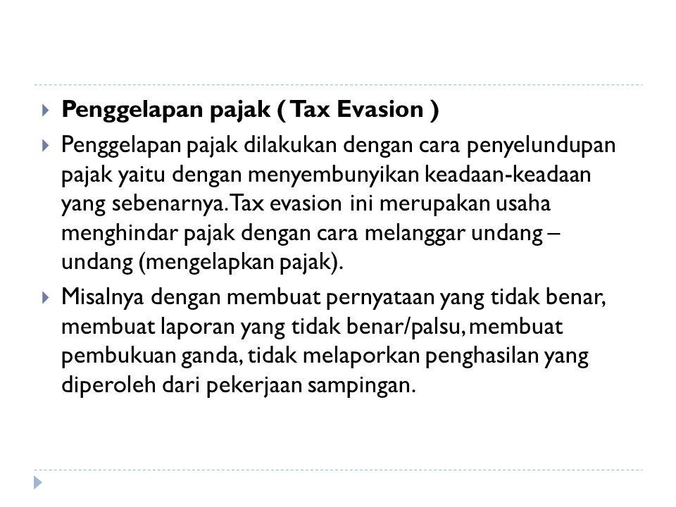 Penggelapan pajak ( Tax Evasion )