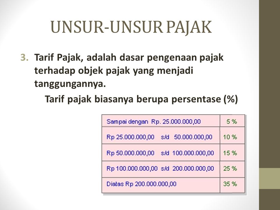 UNSUR-UNSUR PAJAK Tarif Pajak, adalah dasar pengenaan pajak terhadap objek pajak yang menjadi tanggungannya.