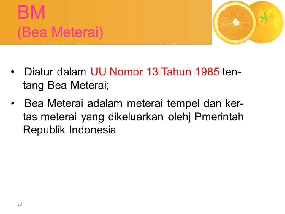 BM (Bea Meterai) Diatur dalam UU Nomor 13 Tahun 1985 ten-