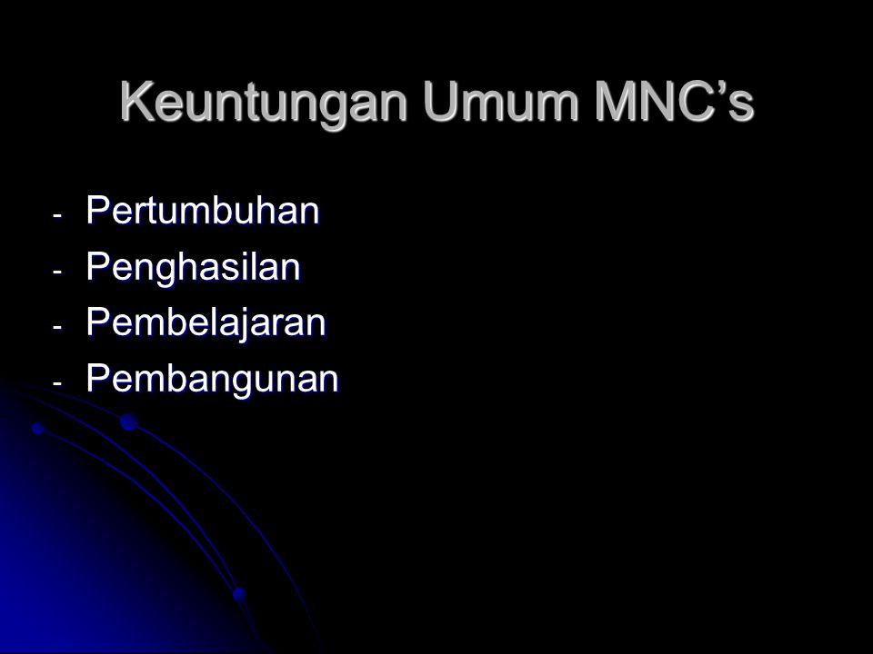 Keuntungan Umum MNC's Pertumbuhan Penghasilan Pembelajaran Pembangunan