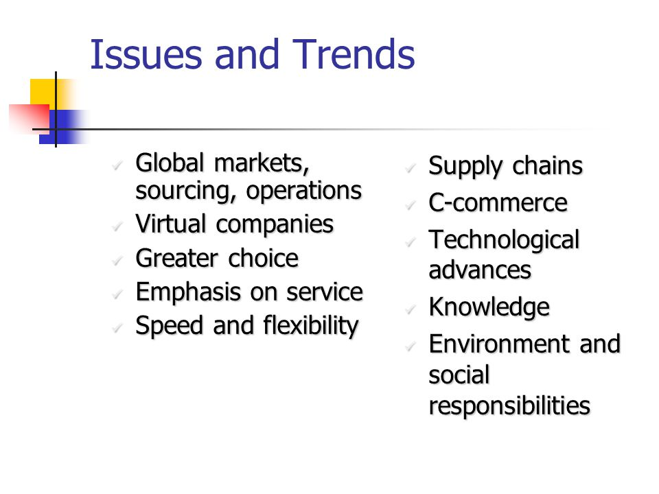 Issues and Trends Global markets, sourcing, operations