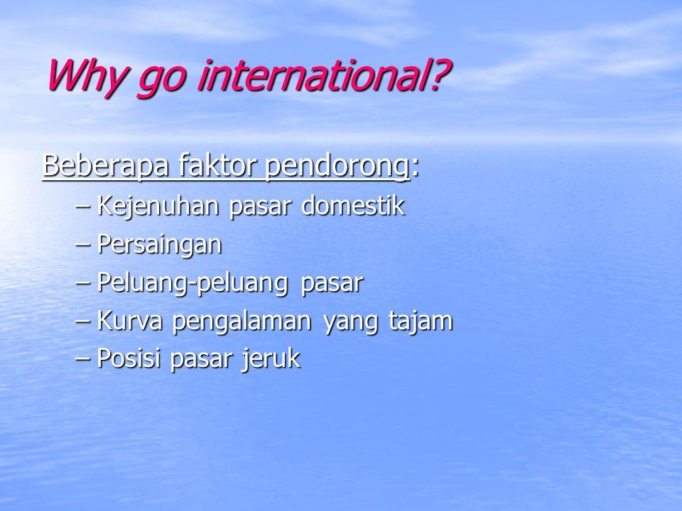 Why go international Beberapa faktor pendorong: