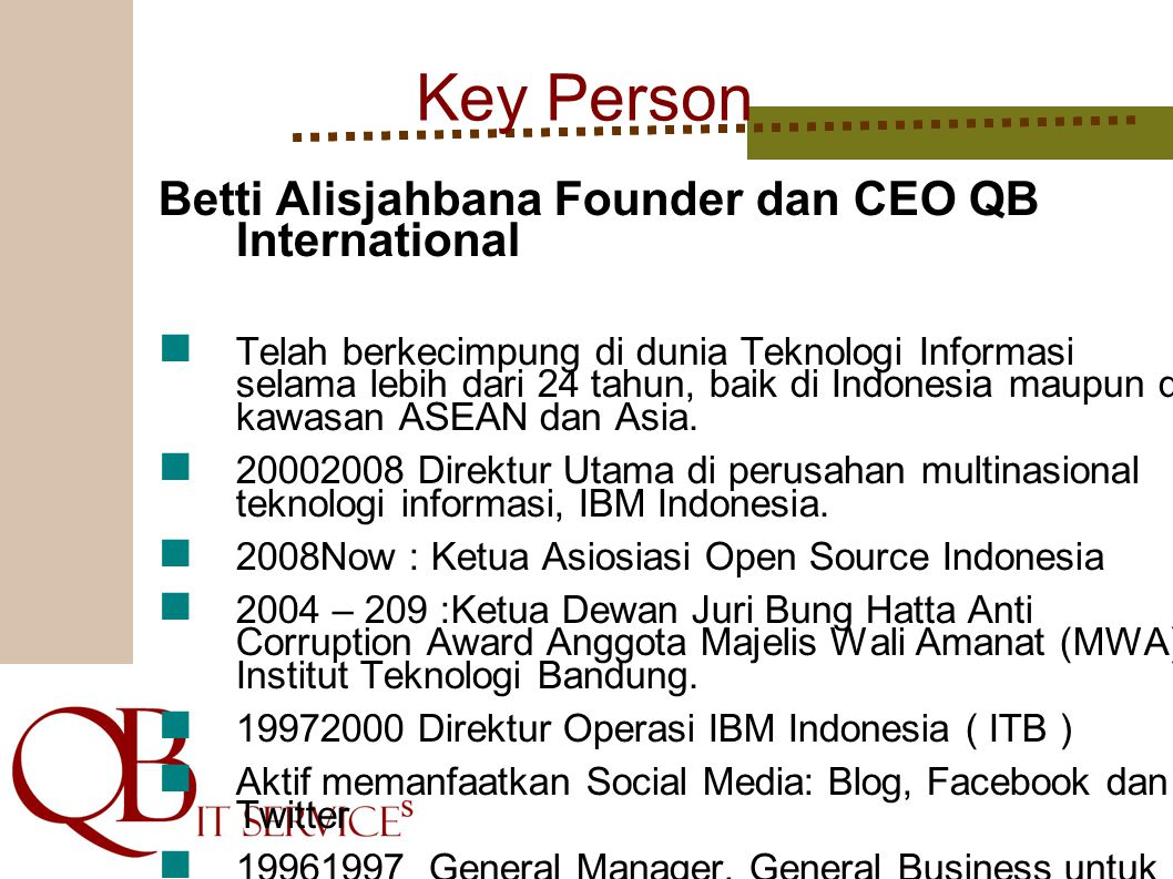 Key Person Betti Alisjahbana Founder dan CEO QB International
