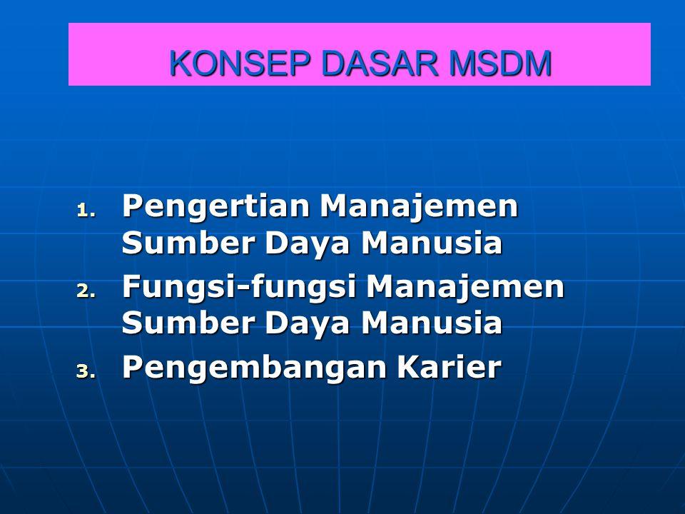 KONSEP DASAR MSDM Pengertian Manajemen Sumber Daya Manusia