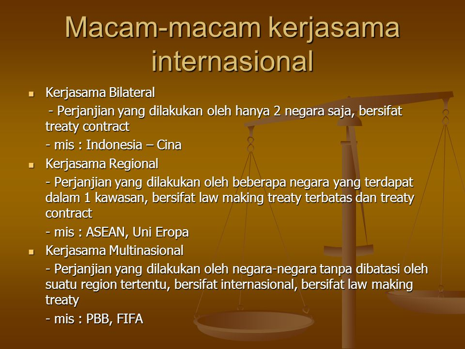 Macam-macam kerjasama internasional