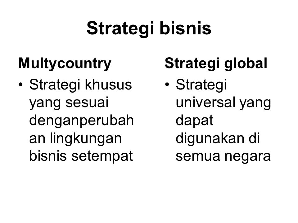 Strategi bisnis Multycountry