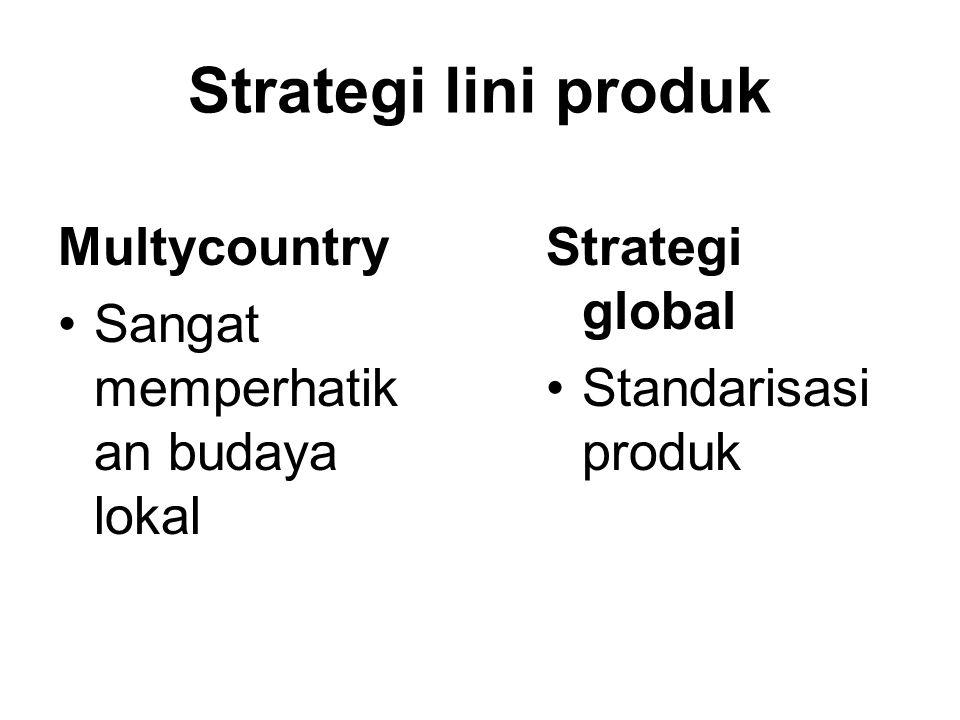 Strategi lini produk Multycountry Sangat memperhatikan budaya lokal