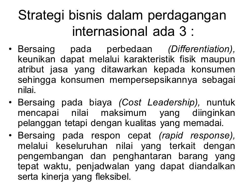 Strategi bisnis dalam perdagangan internasional ada 3 :