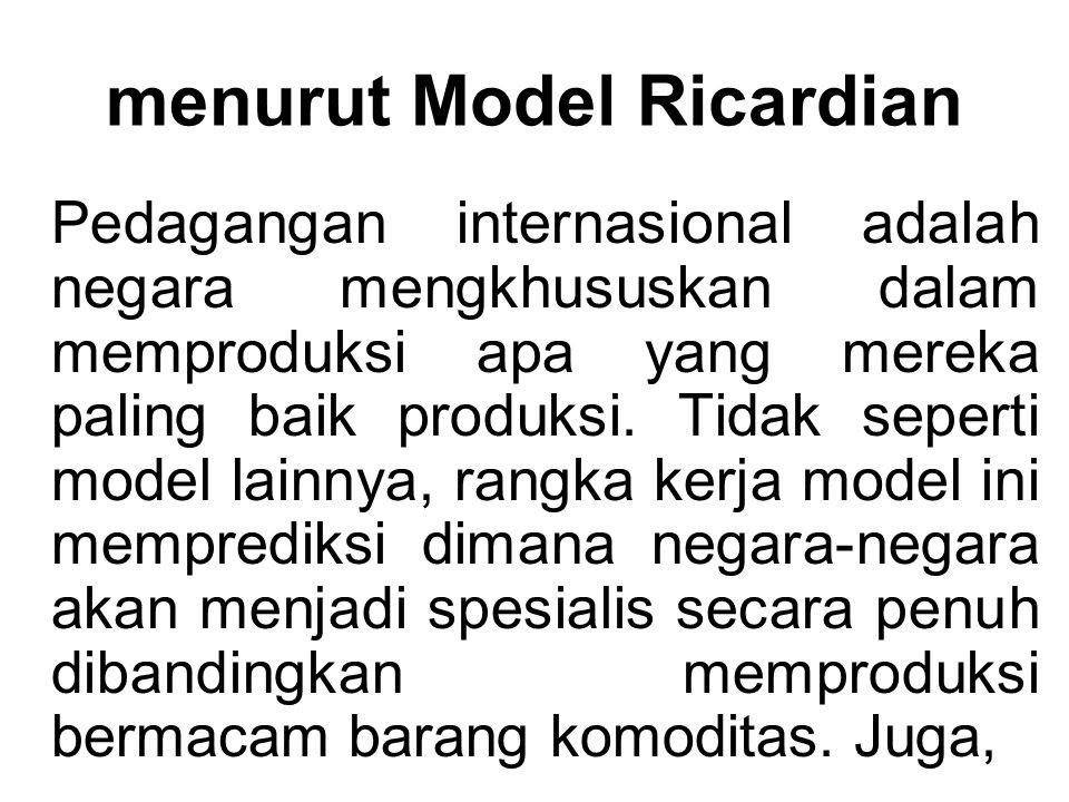 menurut Model Ricardian